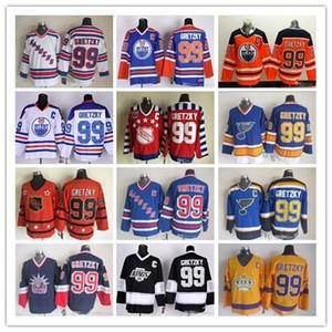 빈티지 뉴욕 레인저스 Edmonton oilers 세인트 루이 블루스 99 Wayne Gretzky 모든 스티치 하키 블랙 레드 오렌지 화이트 도매 좋은 품질