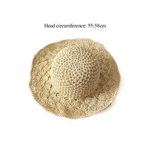 lady Panama hand hook pineapple visor beach hat hand folding straw hat outdoor sun