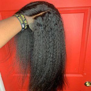 Yüksek qualty yaki kinky Düz peruk 13X4 brezilyalı tam dantel ön peruk önceden hazırlanmış sentetik saç peruk Kadınlar Için Doğal Saç Çizgisi
