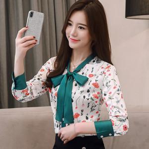 Camisa de gasa satinada mujer manga larga 2019 vestido de primavera nueva versión coreana blusa floral delgada arco impresión Floral Bow 1978 50