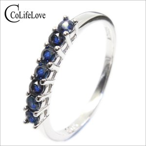 100% anel azul escuro naturais safira para mulher 7 PCS 2,5 milímetros SI anel de safira de grau sólido 925 de prata presente romântico