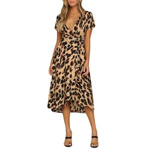 el envío de las mujeres libres del estampado leopardo de vestir de manga Boho Vestido largo de las señoras de vacaciones en Long Short venta caliente