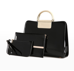 Fashion new ladies casual bag European and American style patent leather three-piece suits women's dual-use bag handbag wholesale
