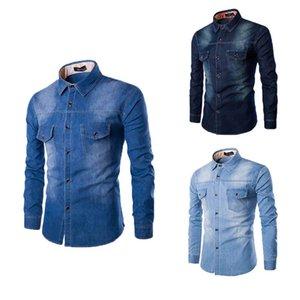 Новая мода Мужская одежда Мужская рубашка мужская роскошь тонкий повседневный длинный рукав джинсовые рубашки на пуговицах