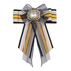 fita colorida New Bow Tie Europeu e broche americano roupas transfronteiriços pingente Alloy jóias incrustadas de strass