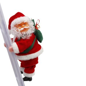Electric Christmas Santa Claus Decorations climbing Strings children's electric toys Santa Claus toy Plush climbing ladders Toys GGA2865