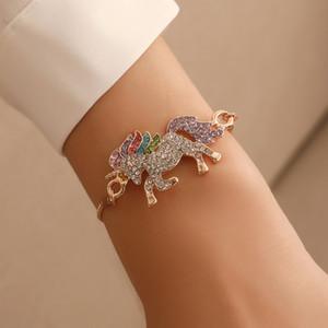 Hot Fashion Jewelry Colorful Rhinstone Unicorn Bracelet Adjustable Chain Bracelet S810