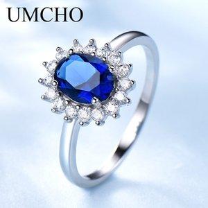 Anéis UMCHO Luxo Blue Sapphire Princesa Diana anéis para mulheres Genuine 925 prata esterlina anel de noivado romântico da jóia do casamento