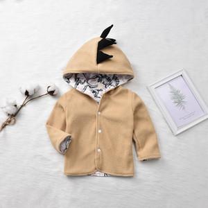 Pudcoco Bebek Erkek Bebek Kız Katı Renk Uzun Kollu Düğme Kapşonlu 3D Karikatür Dinozor Triko Coat Dış Giyim Giysiler Giysiler