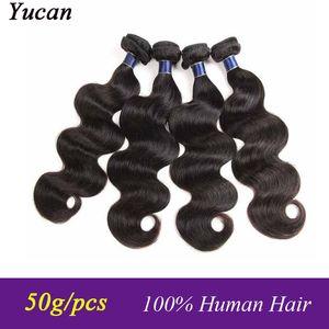 9A brasileña Cuerpo Virgen de la onda del pelo 3/4 Paquetes extensiones del cabello humano peruano de Malasia India Camboya Virgen del pelo de la onda del cuerpo de 50 g / pcs