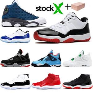 13С Флинт 4С разводят 11 просто замечательно-синий Конкорд черный кот Чикаго Тревис кактус Джек чисто деньги спортивные кроссовки мужская баскетбольная обувь размер 13
