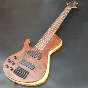 High quality left hand 6 string electric bass guitar, basswood body maple keyboard, black hardware, bass guitar, free shipping