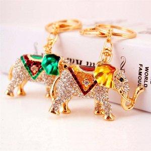 Pendentif strass éléphant animal Keyring Nouvelle arrivée émail cristal Keychain Charms Fermoir voiture Porte-clés Key Craft Bague