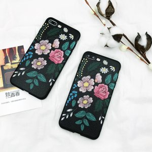 3D Retro Flowers Phone Case For iPhone 6 6S 7 Plus 8 Plus Luxury PU Leather Soft TPU Phone Back Cover for iPhone X