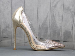 With Box Bridal Wedding Shoes Red Bottom High Heels Clear Heels Crystal Rhinestone Designer Pumps Size 35 To 40 41