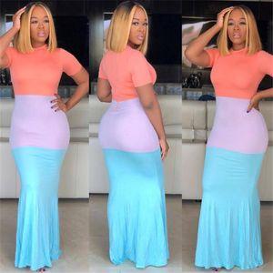 Дамы назад Zipper длинное платье Color Matching Макси платья с коротким рукавом Bodycon Юбка Общая Тощий Полноразмерные Ужин Вечернее платье LY0304