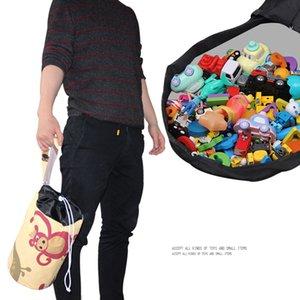 juguetes con cordón de capacidad de almacenamiento de la lona bolsa de cubo de juguetes para niños de almacenamiento de ahorro de espacio Organizador cordón bolsa LJJA3508-2