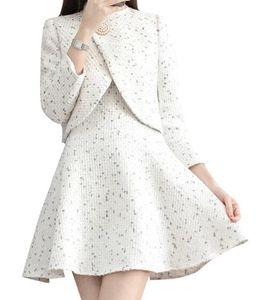 2020 Autumn Winter Tweed 2 Suit Women Elegant Pearl Beading Short Jacket Wool Blend Sleeveless Vest Blazer Dress DV67