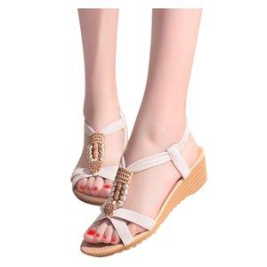 SAGACE Weged Sandals Women Girl Bohemian Beach Vacation Beaded Sandals Shoes Women's Footwear For Summer Sandals Mujer T200529