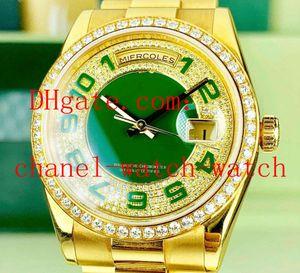 Luxury Day-Date 50th Anniversary 118348 Pave Green Diamond Relojes Asia 2813 hombres automáticos del amarillo de 18 quilates para hombre Relojes de oro
