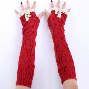 Novo inverno 2019 botões folhas de renda de tricô de lã quente sem dedos metade refere-se a ms longas luvas