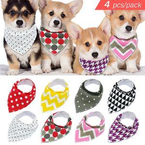 Umweltfreundlich 4pcs Adjustable Welpen-Katze-Bandana Halsbänder Hunde Schal-Halstuch Kragen Grooming Zubehör für Small Medium Large Dog
