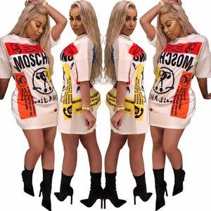 Mujeres Verano Retro Graffiti Imprimir Camiseta Vestido Diseñador O Cuello Manga corta suelta Larga larga Vestidos Hip Hop Mini Falda S-2XL