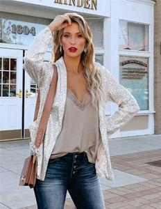Womens Sequins OL Suits Casual Designer Primavera Sexy cor sólida Suit Collar Blazers fêmeas Moda Plus Size Cor solto