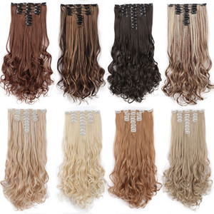 22 polegadas Cabeça completamente ondulado longo sintéticos 18 clipes na Hair Extensions para mulheres Hairpieces preto louro de Brown