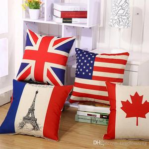 Nueva nacionales funda de almohada de algodón de la bandera de lino muebles cuadrado funda de almohada de la individualidad casa cubierta decorativa 45 * 45cm almohada