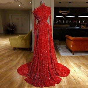 Brillante in rilievo di cristallo paillettes alta anteriore dividere un Abiti di spalla di lusso della sirena dei vestiti da sera Prom sexy con sweep treno