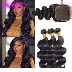 M Brazilian Human Hair 3 Bundles With 7x7 Lace Closure Natural Color Body Wave Virgin Hair Extensions With Seven By Seven Closure