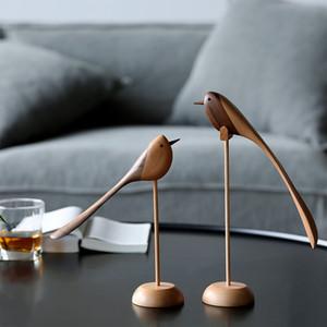 Danesa adornos de joyería de madera tallado de madera del juego del equipamiento casero de estilo nórdico títere Equipamiento del hogar cuenta con aves de madera