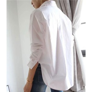 Women Shirt Spring Summer Simple Blouse New Boyfriend Style Classic Silhouette Solid Blouses MX200407