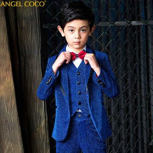 Royal Blue Boys Suit Children's Awards Dress Big Boys Suits For Weddings Birthday Formal Shiny Blazer Prom Suits Costume Garcon