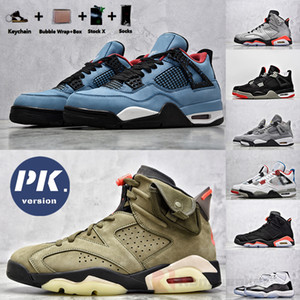 PK Version 4 Cactus Jack Bred Travis Scotts 6 Basketball Shoes 1s Mid Fearless Obsidian 11 Concord 45 Gamma Blue Mens Designer Sneakers