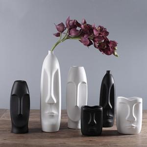Nórdico minimalista de cerámica abstracta Jarrón Blanco y Negro humana creativa de la cara de visualización decorativo de la sala Figue forma de la cabeza del florero