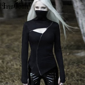 InsGoth Turleneck aderente Black Women T-shirt punk gotico Zipper scava fuori a maniche lunghe T-shirt Streetwear partito sexy Gotico Top Y200412