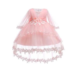Frete Grátis Forro de Algodão Vestidos de Infantil 2018 Novo Estilo Marfim Vestido de Bebê Para 1 Ano de Aniversário Da Menina Batizado Vestidos Com Trem