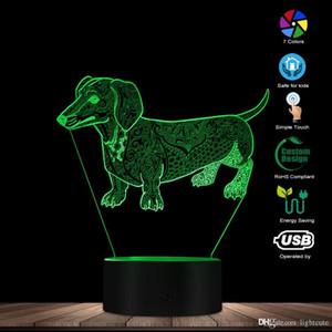 Bonito Temperamento Resumo Dachshund Dog Custom Name 3D Optical Illusion luz brilhante lâmpada LED Pet Lover proprietário presente Lighting