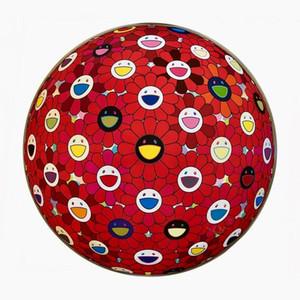 Takashi Murakami 'Flowerball: Bright Red Decor Início pintado à mão HD cópia da pintura a óleo sobre tela Wall Art Canvas Pictures 191112