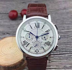 Все циферблаты рабочие Секундомер Мужчины Смотреть Роскошные часы с календарем кожаный ремешок Top Brand Кварцевые наручные часы для мужчин Высокое качество Лучший подарок