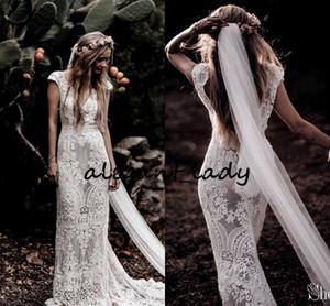 Vestido de recepción de la boda vestidos de novia de estilo rústico de la vendimia de la manga del casquillo del cordón del ganchillo de apliques sin respaldo de Bohemia Woodland nupcial
