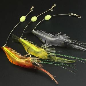 Glow Kancalı 1 adet / lot Karides Yumuşak Lure 9cm / 6g Balıkçılık Yapay Bait Anzois Para Pesca Sabiki Donanımları Balıkçılık Lure Swivels