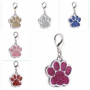 Köpekler kimliği Etiketler Yaratıcı Çinko Alaşım Glitter Ayak Pet kolye Özelleştirilmiş ile Anahtarlık LXL677-1 kolye Evcil Köpek Yaka Tag Malzemeleri yazdır