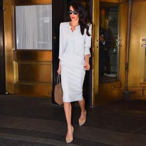 Elegante chaqueta elegante bata blanca Milán Pista alta calidad 2020 otoño partido de la moda de las nuevas mujeres de la vendimia Oficina