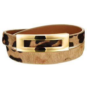 Mulher de couro do envoltório Pulseiras Casual Leopard Cor Double Layer jóias pulseira de couro Mulheres Sporty