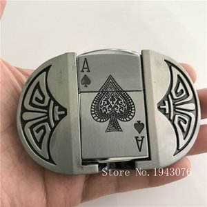 Retail Fashion Men's Spades A Playing Card Kerosene Lighter Metal Belt Buckles For 4cm Wide Belt Man Jeans accessories SH190919
