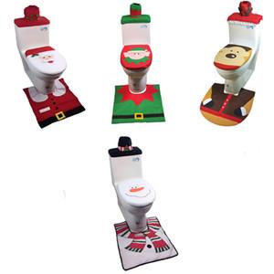 Рождество крышки унитаза и Ковер Установить украшения снеговика Santa Elf Bath Mat Xmas украшения ванной Товары для дома Декор JK910