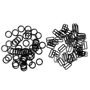 200pcs 10mm métal Bra Ajusteur Courroie O anneaux et la figure 8 pour lingerie sous-vêtements noirs